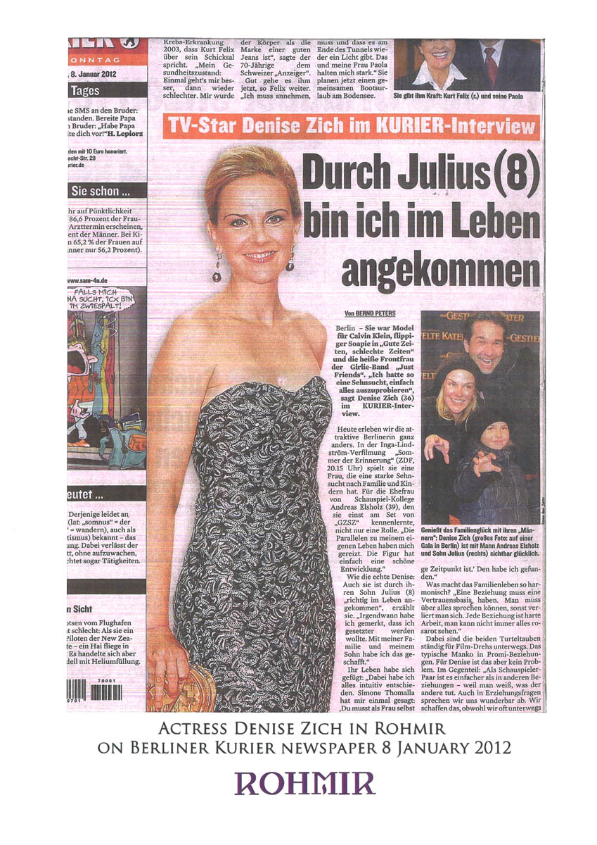 Actress Denise Zich in Rohmir on Berliner Kuler Newspaper 8Jan 2012