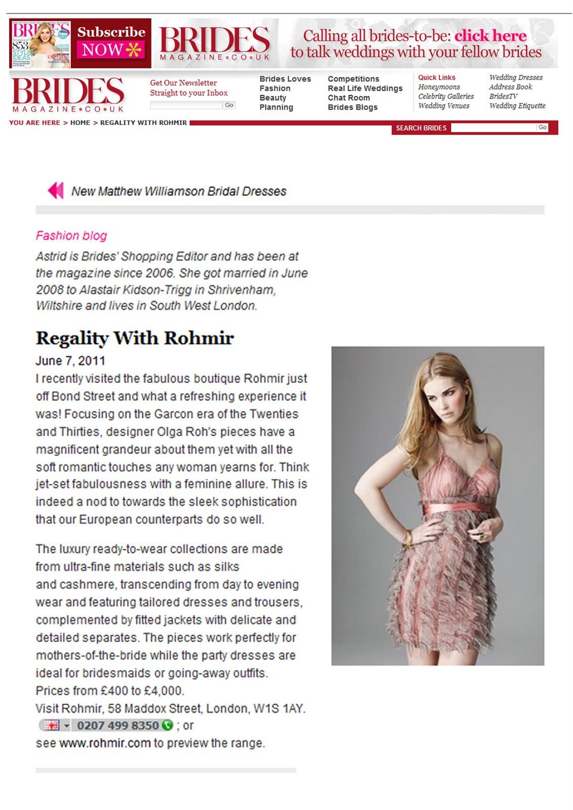Brides Magazine in FW11 Rohmir dress