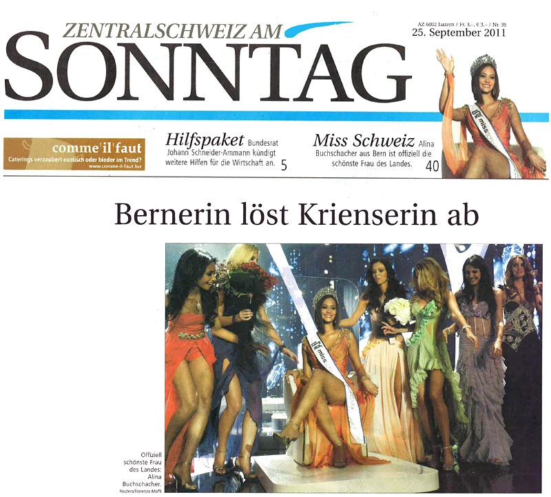 Miss Switzerland 2011 on Sonntag