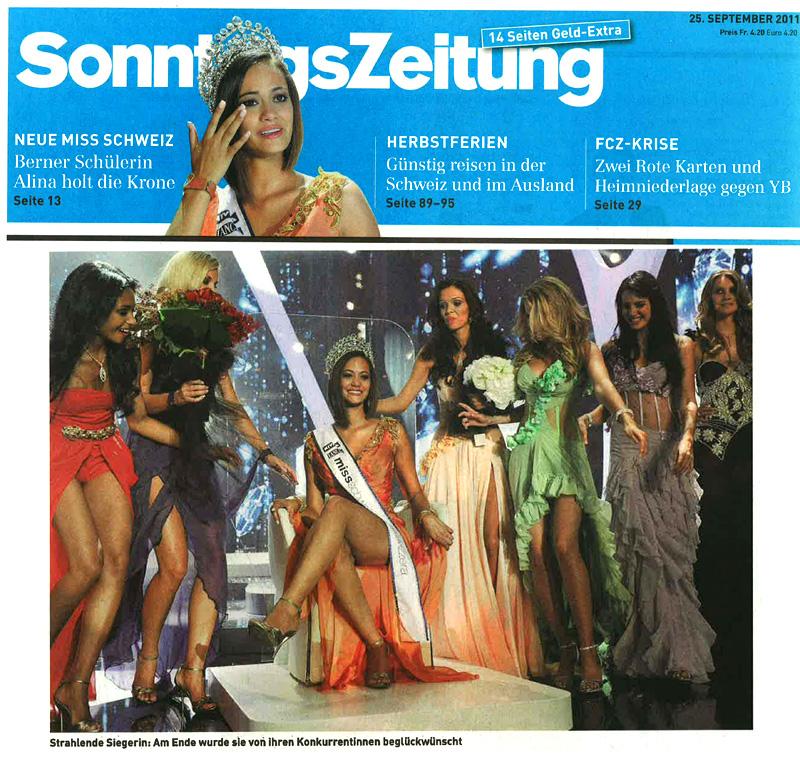 Miss Switzerland  2011 on SonntagsZeitung