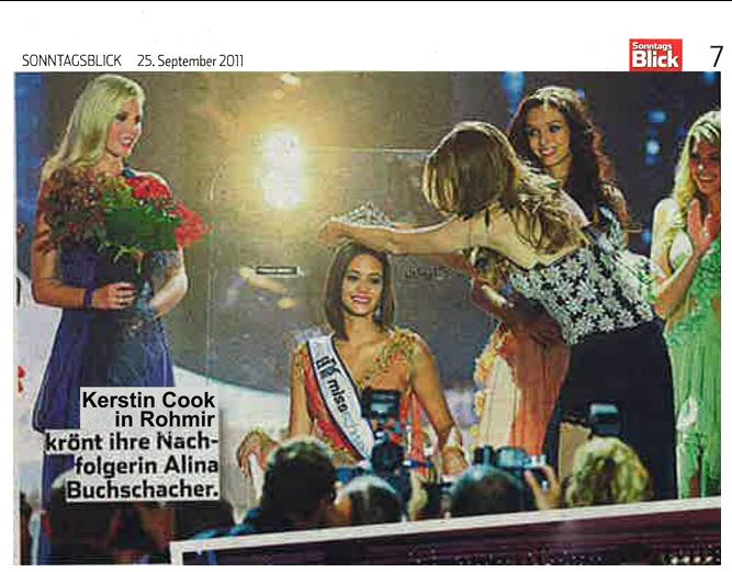 Miss Switzerland 2011 on Sonntagsblick