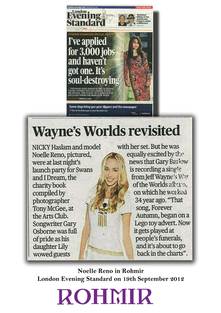 Noelle Reno in Rohmir London Evening Standard on 19th September 2012