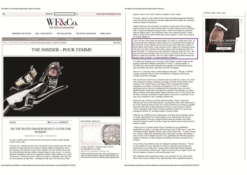 """O.R.'s quote in Watchfinder.co.uk """"do the watch brands really cater for women"""""""