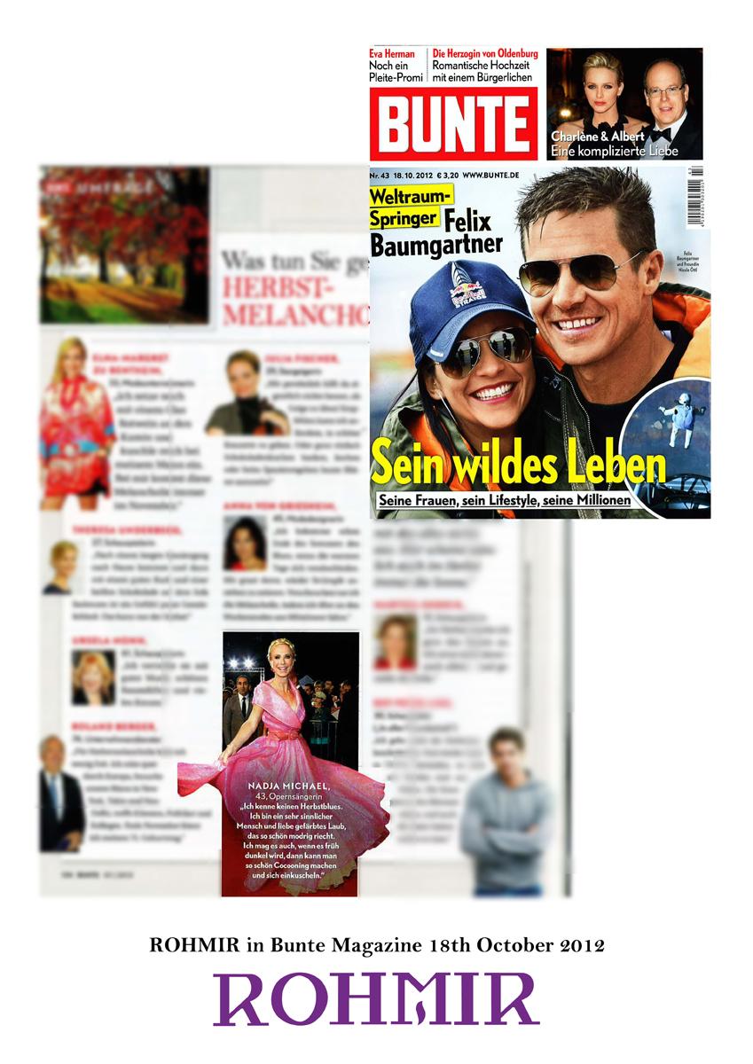 ROHMIR in Bunte Magazine 18th October 2012