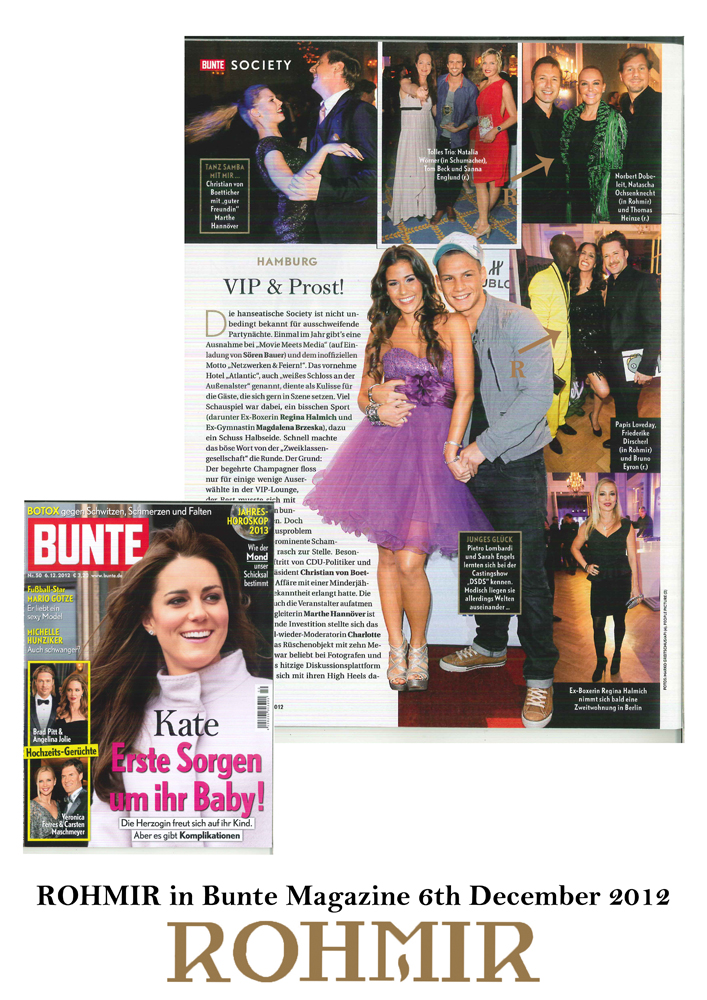 ROHMIR in Bunte Magazine 6th Dec 12