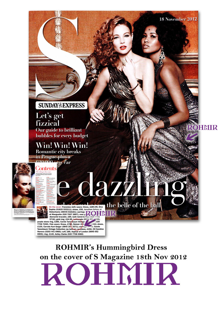 ROHMIR's Hummingbird Dress on cover of S Magazine 18th Nov 2012