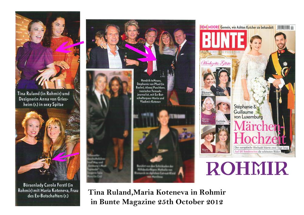 Rohmir in Bunte Magazine 25th October 2012
