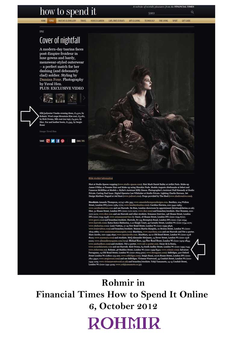 Rohmir in Financial Times How to Spend It Online