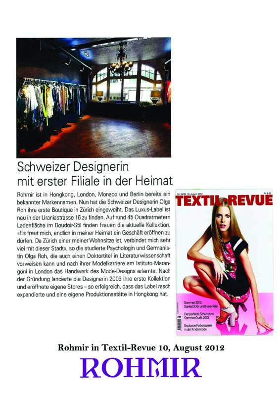Rohmir in Textil-Revue 10, August 2012