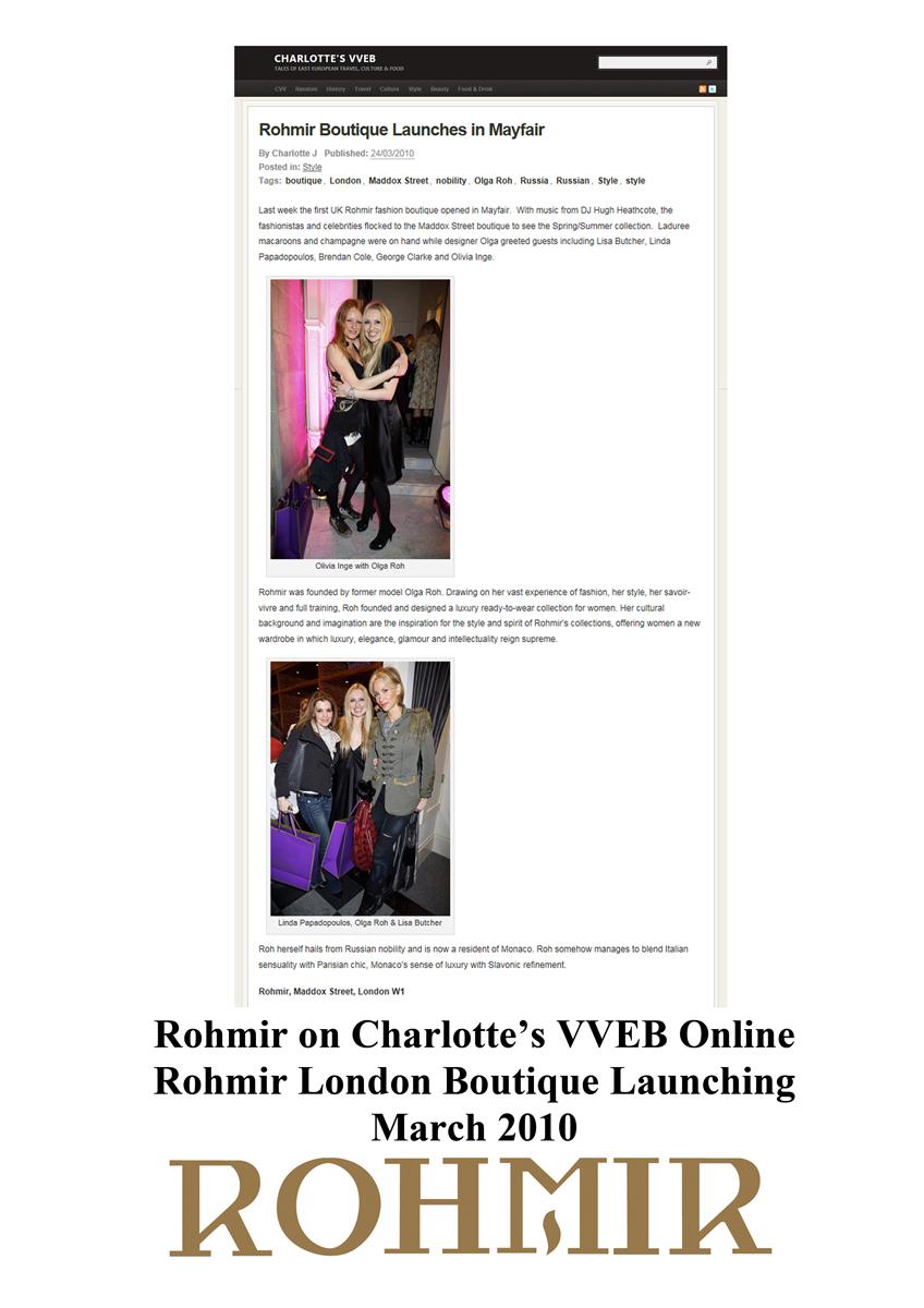 Rohmir on charlotte's VVEB Online Rohmir launches Londdon Noutique Mar2010