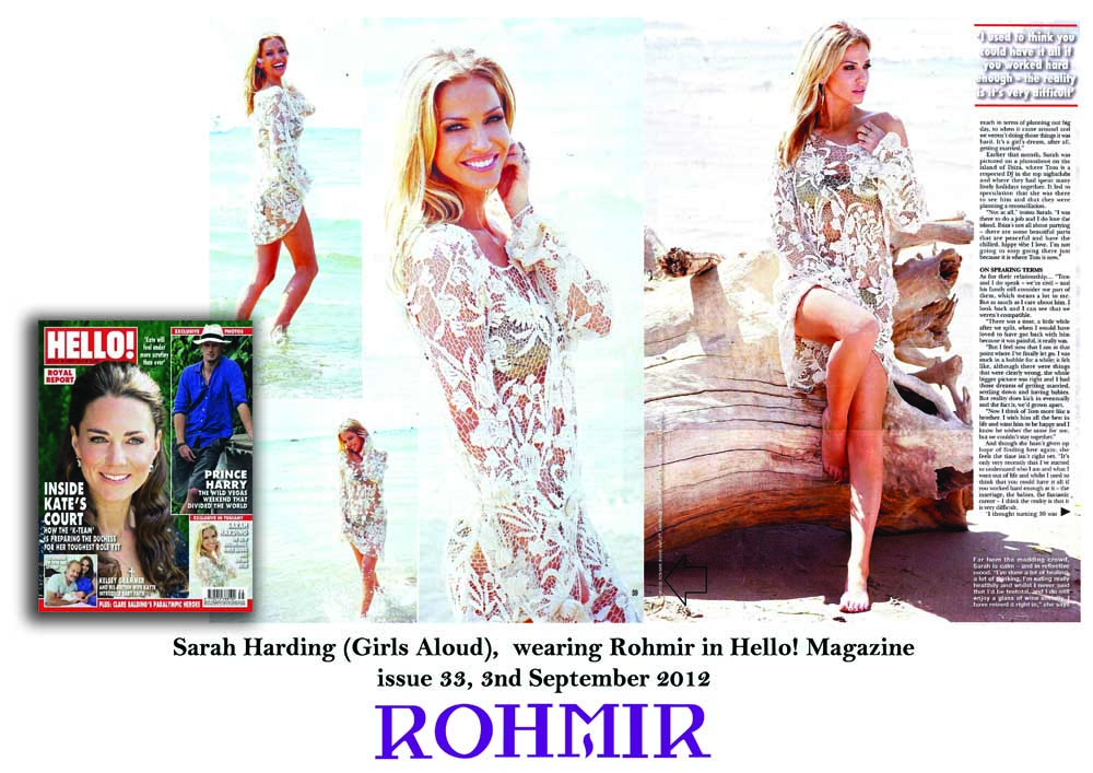 Sarah Harding (Girls Aloud),  wearing Rohmir in Hello! Magazine