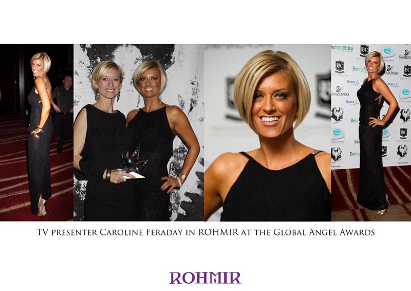 TV presenter Caroline Feraday wearing the Meonly dress at the Global Angel Awards