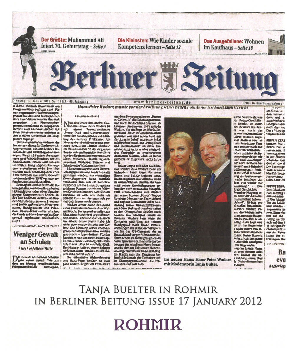Tanja Buelter in Rohmir in Berliner Beitung Issue 17 jan 2012