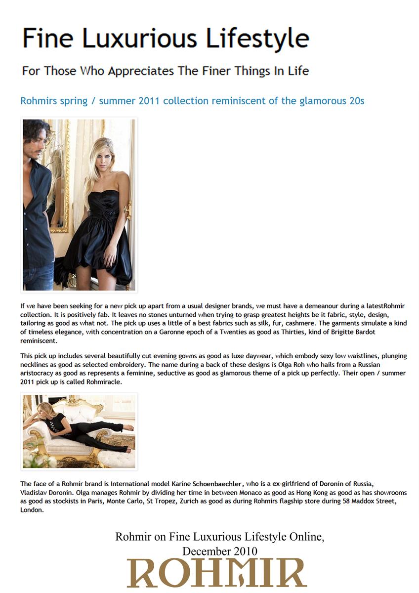 Rohmir on Fine Luxurious Lifestyle Online,Dec 2010