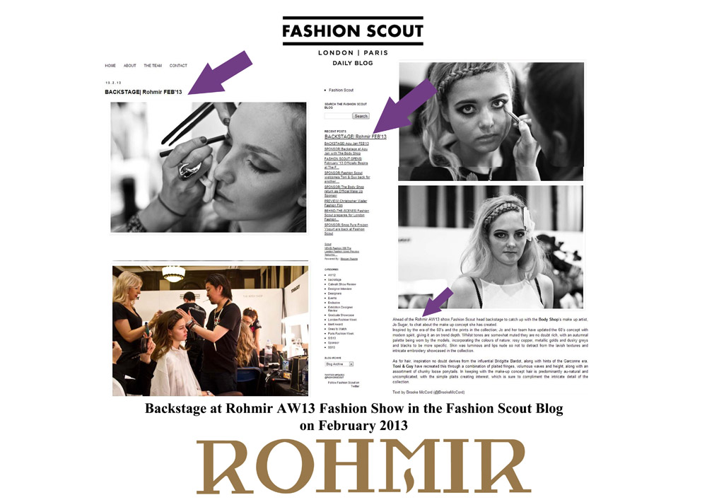 Backstage at Rohmir AW13 Fashion Show in the Fashion Scout Blog