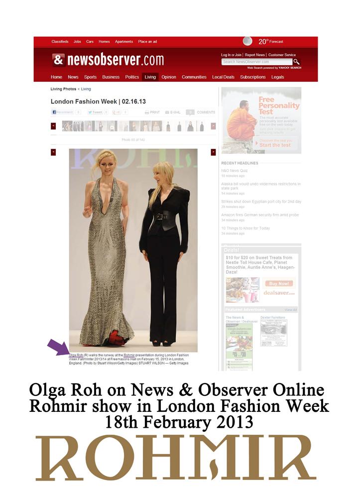 Olga Roh in News & Observer Online Rohmir show in London Fashion Week18th Feb