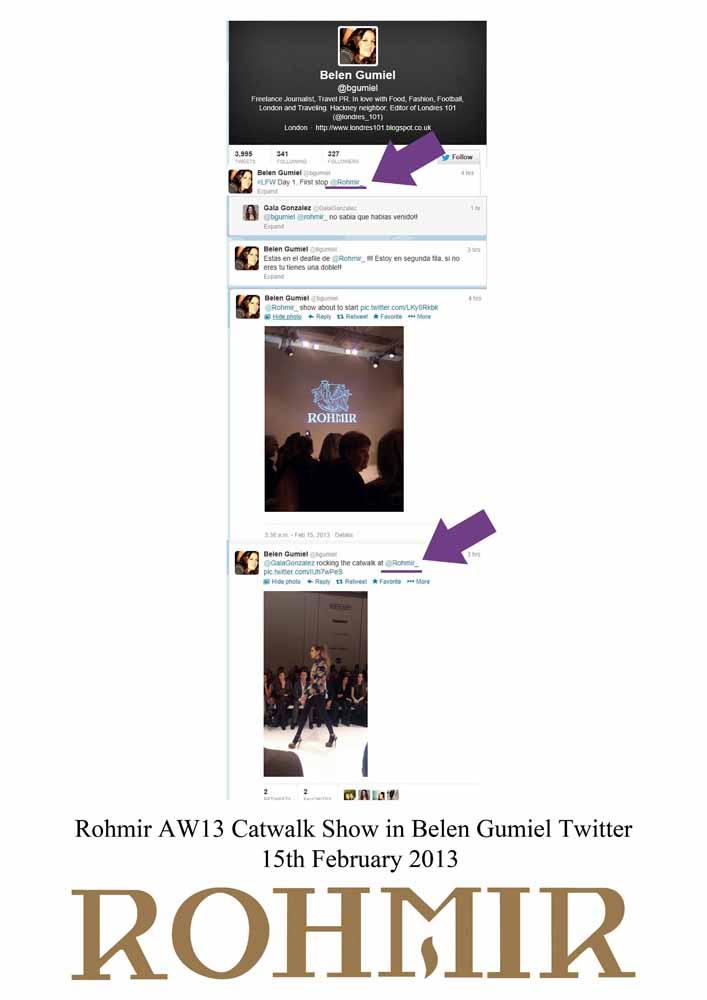 Rohmir AW13 Catwalk Show in Belen Gumiel Twitter 15th February 2013