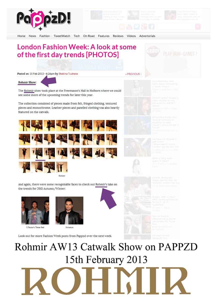 Rohmir AW13 Catwalk Show on PAPPZD 15th February 2013