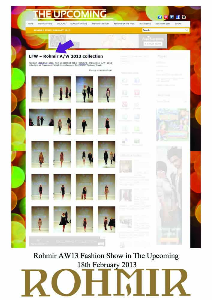 Rohmir AW13 Fashion Show in The Upcoming 18th February 2013