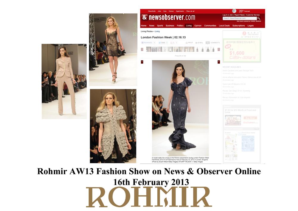 Rohmir AW13 Fashion show on news & Observer Online 16feb2013