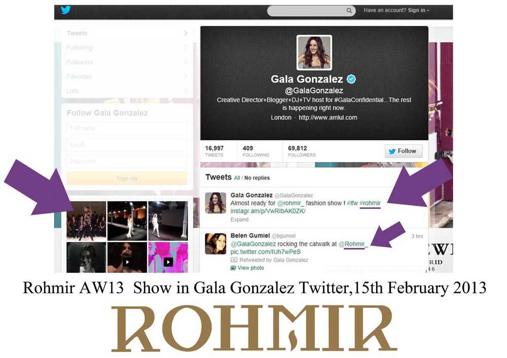 Rohmir AW13  Show in Gala Gonzalez Twitter,15th February 2013