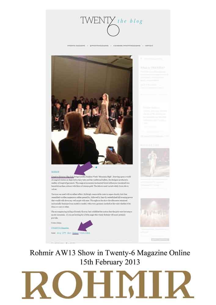 Rohmir AW13 Show in Twenty-6 Magazine Online 15th February 2013