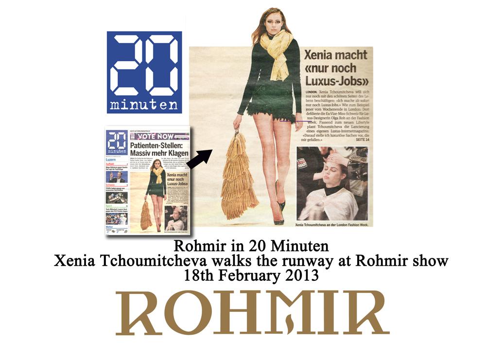 Rohmir in 20 minuten Xenia Tchoumitcheva walks the runway at Rohmir show 18feb2013
