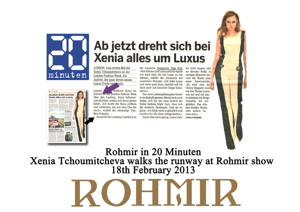 Rohmir in 20 minuten Xenia Tchoumitcheva walks the runway at rohmir show (1) 18feb2013