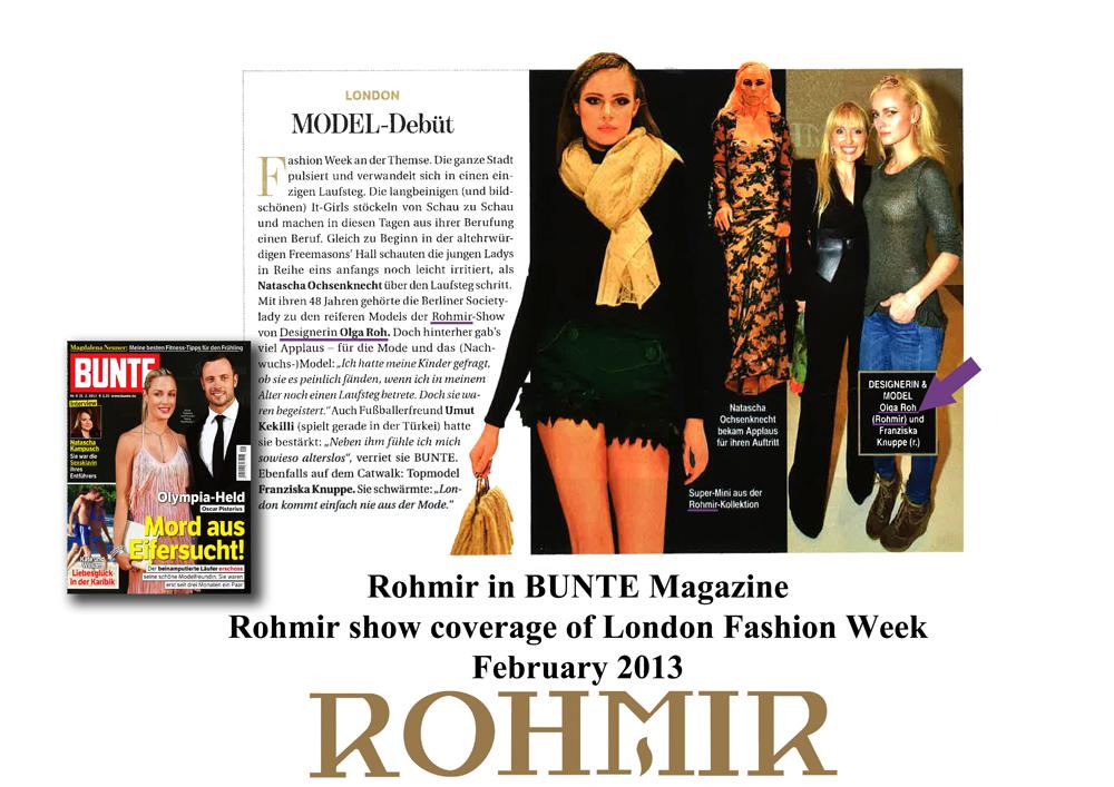 Rohmir in Bunte Magazine Rohmir show coverage of London Fashion Week Feb 2013