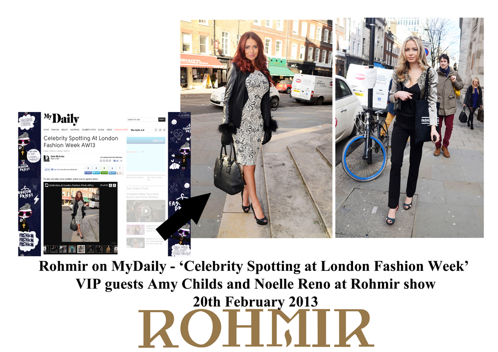 Rohmir in Mydaily VIP guests Amy Childs and Noelle Reno at rohmir show