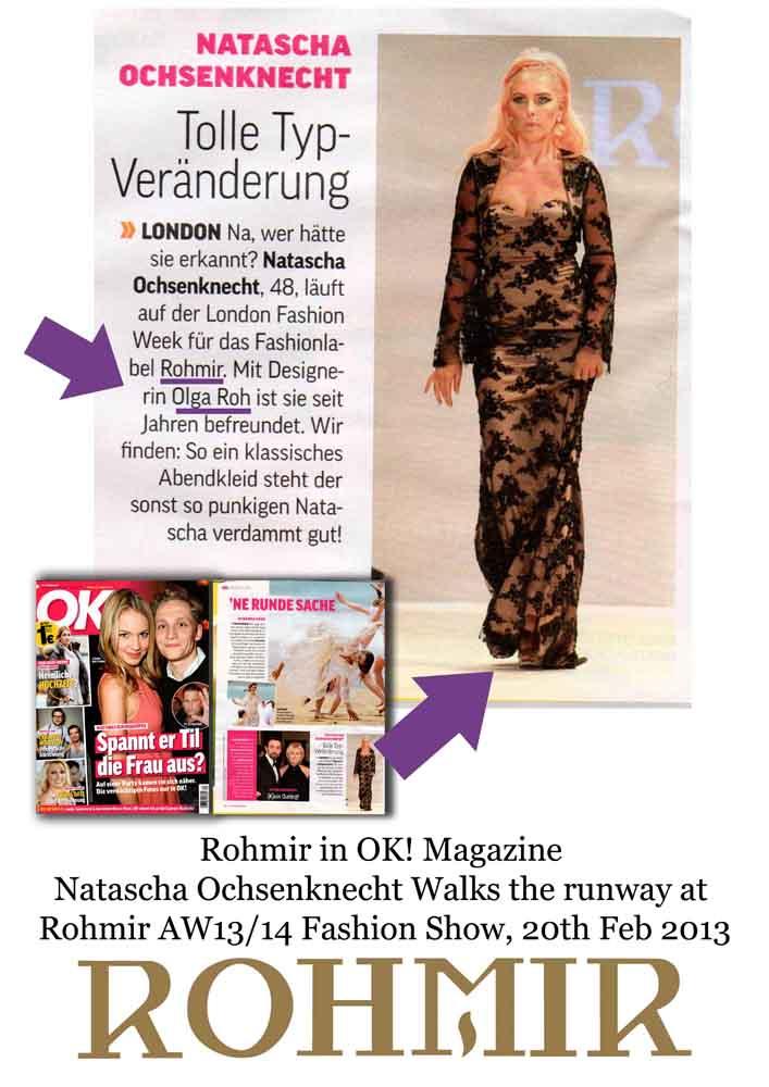 Rohmir in OK! Magazine Natascha Ochsenknecht Walks the runway at Rohmir AW13 14 Fashion Show, 20th Feb 2013