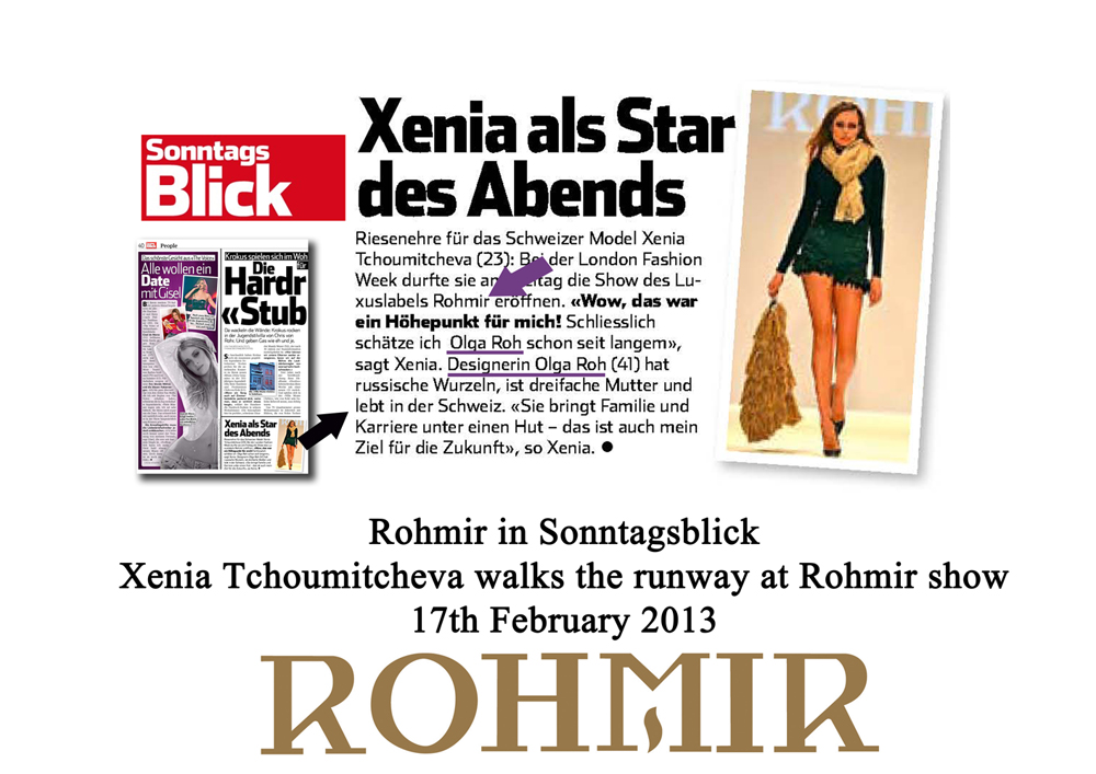 Rohmir in Sonntagsblick Xenia Tchoumitcheva walks the runway at Rohmir show 17feb2013