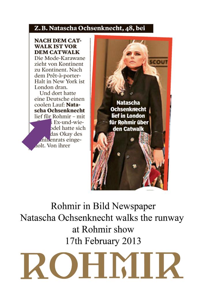 Rohmir on Bild Newspaper Natascha Ochsenknecht Walks the runway at Rohmir show, 17th feb 2013