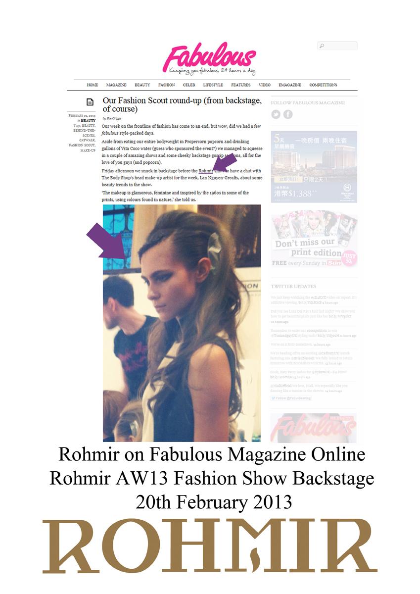 Rohmir on Fabulous Magazine Online aw13 fashion show backstage 20feb2013