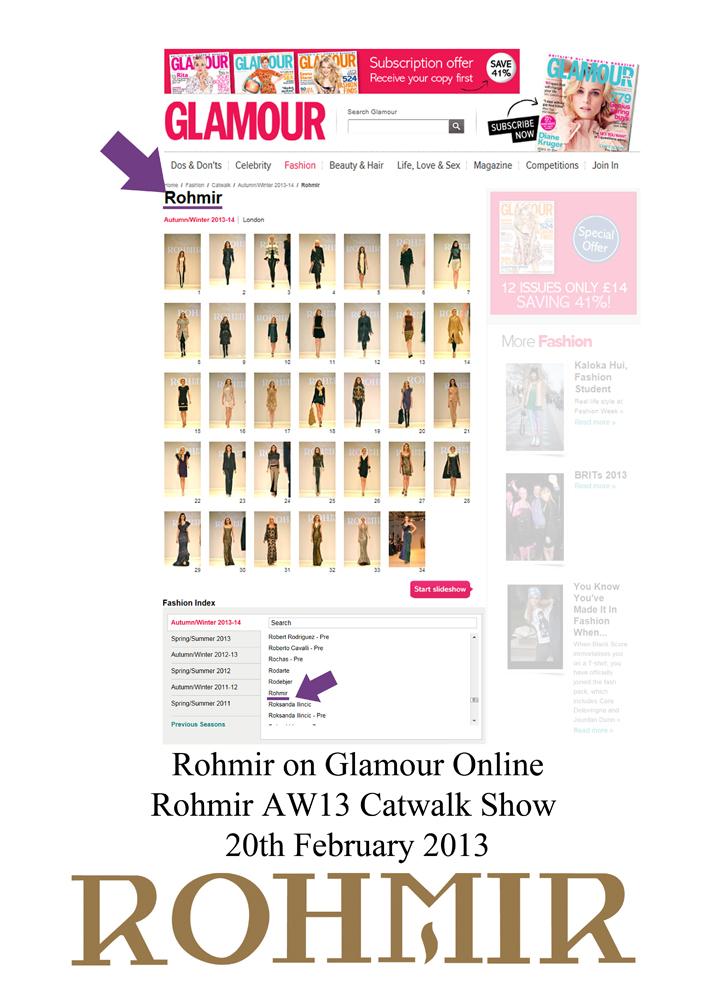 Rohmir on Glamour Online rohmir aw13 catwalk show 20feb2013