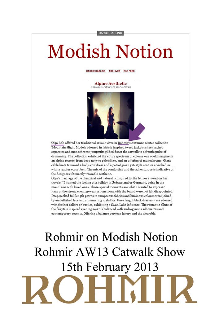 Rohmir on Modish Notion Rohmir AW13 Catwalk Show 15 feb 2013
