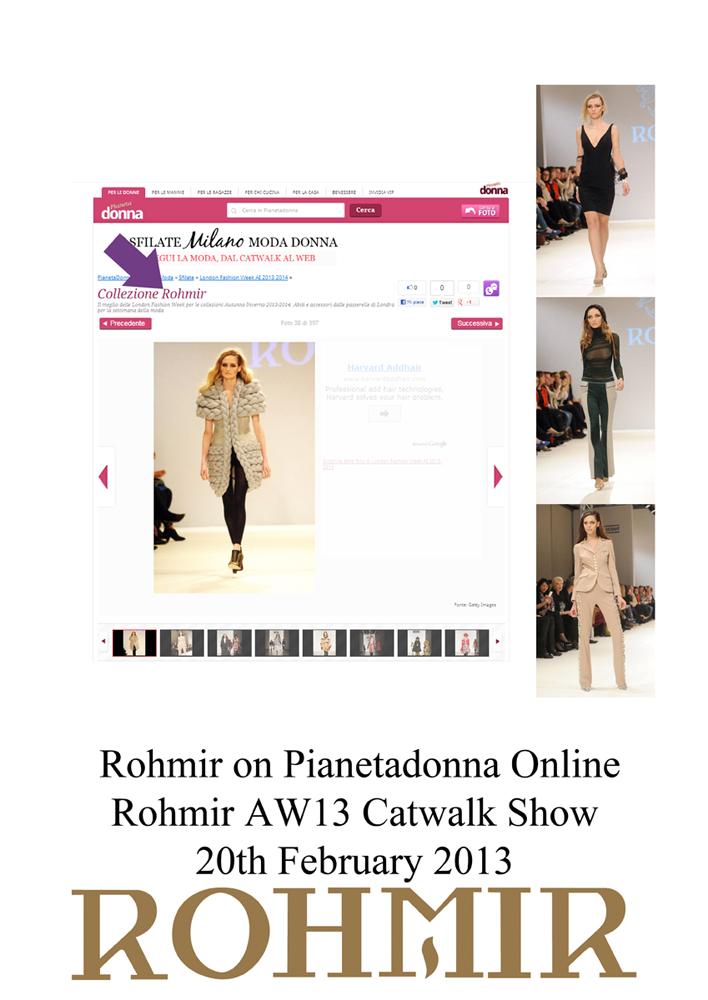 Rohmir on Pianetadonna Online Rohmir AW13 Catwalk Show