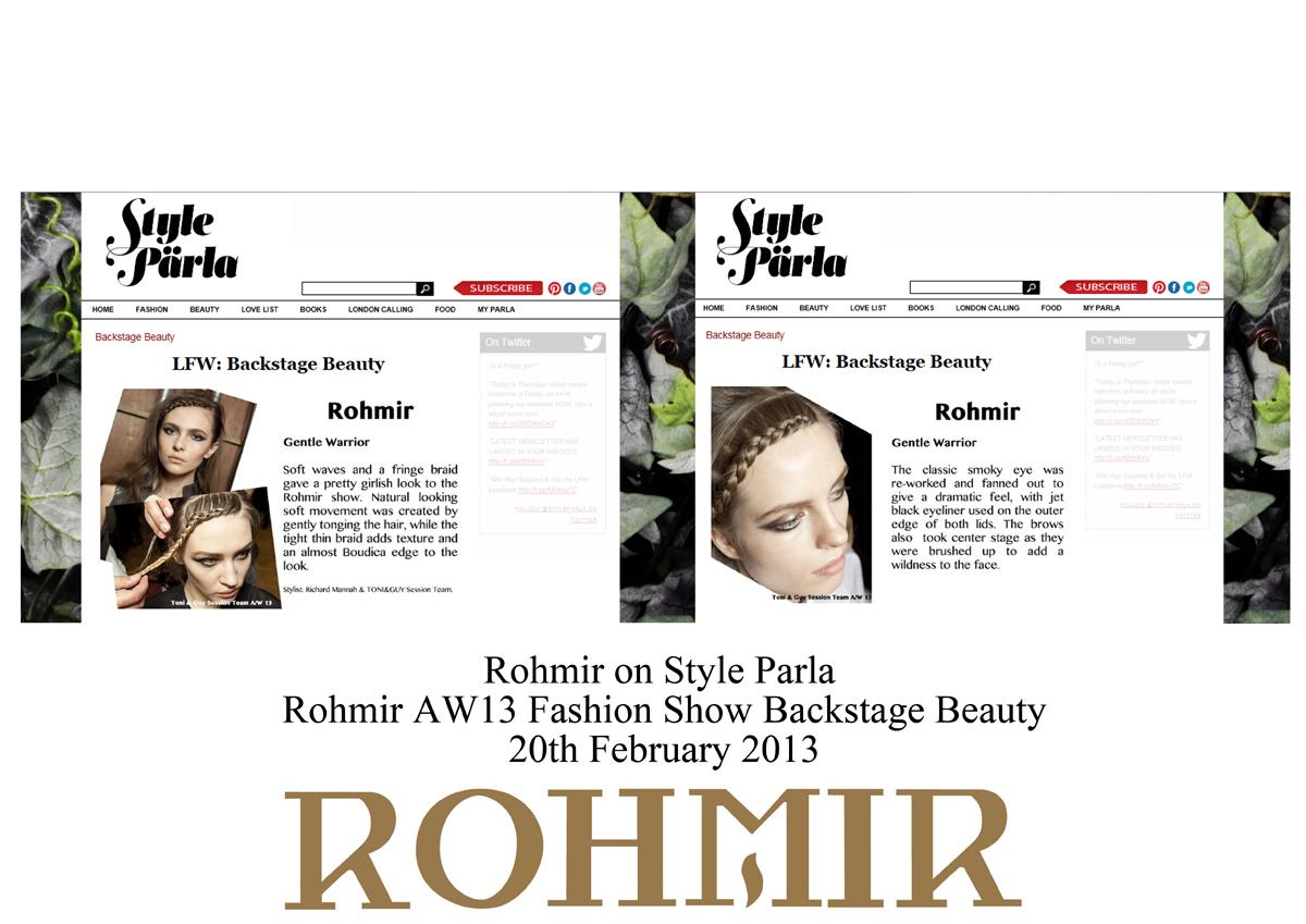Rohmir on Style Parla rohmir AW13 fahion show backstage beauty 20 feb 2013