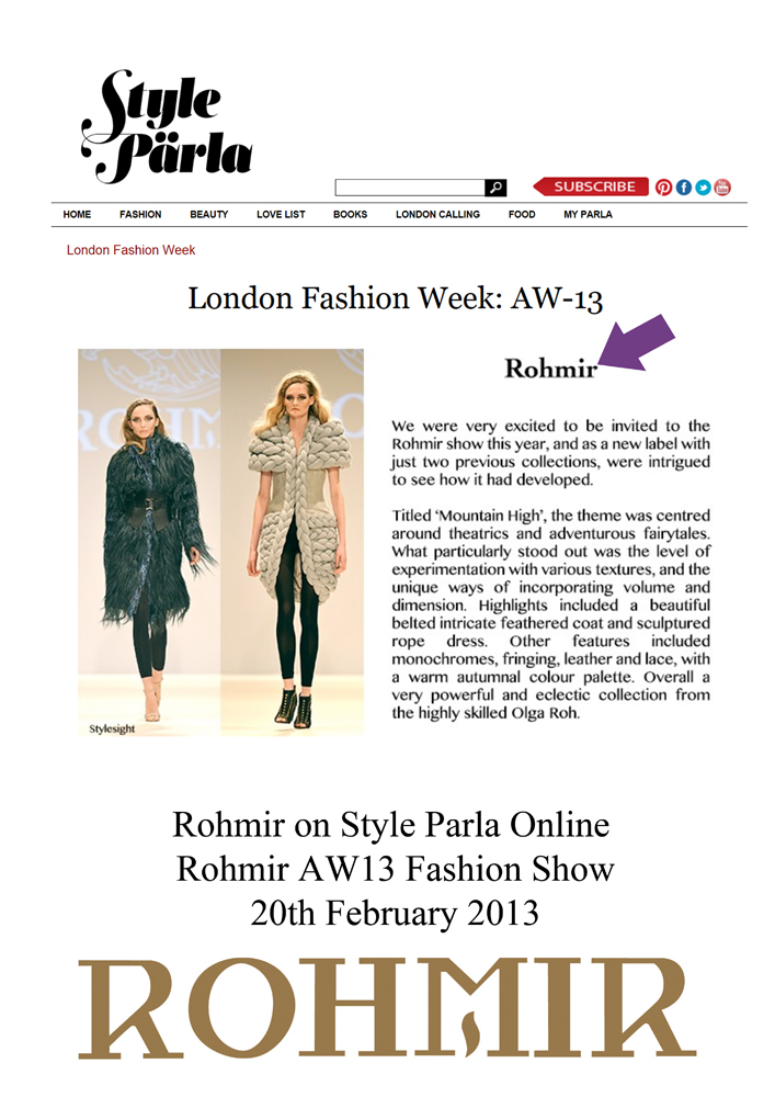 Rohmir on style parla Online aw13 fashion show 20feb2013