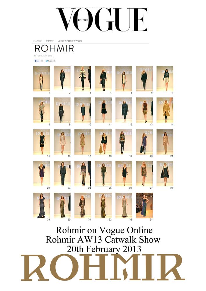 Rohmir on vogue online Rohmir AW13 catwalk show 20 feb 2013