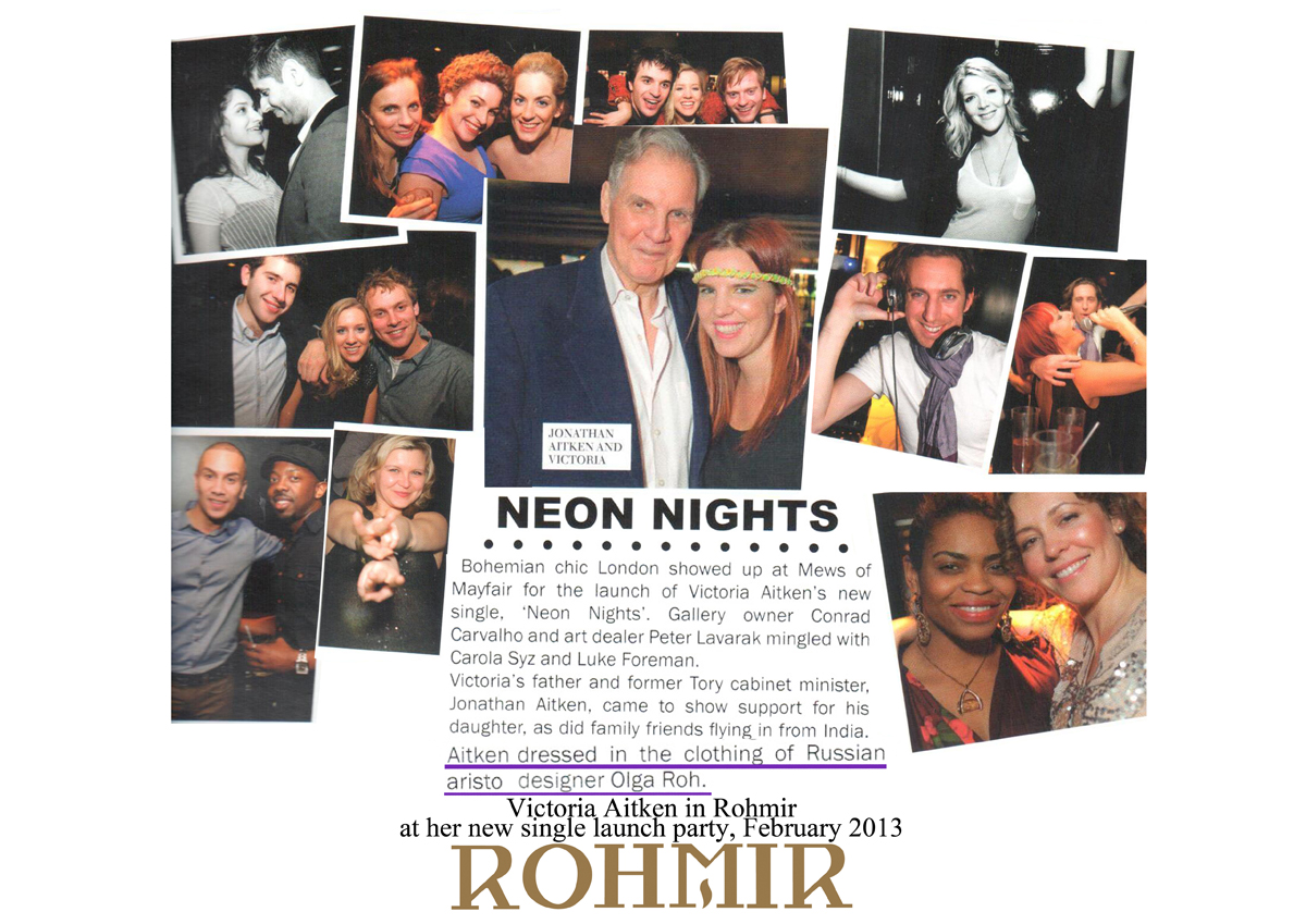 Victoria Aitken in rohmir at her new signle launch party Feb 2013