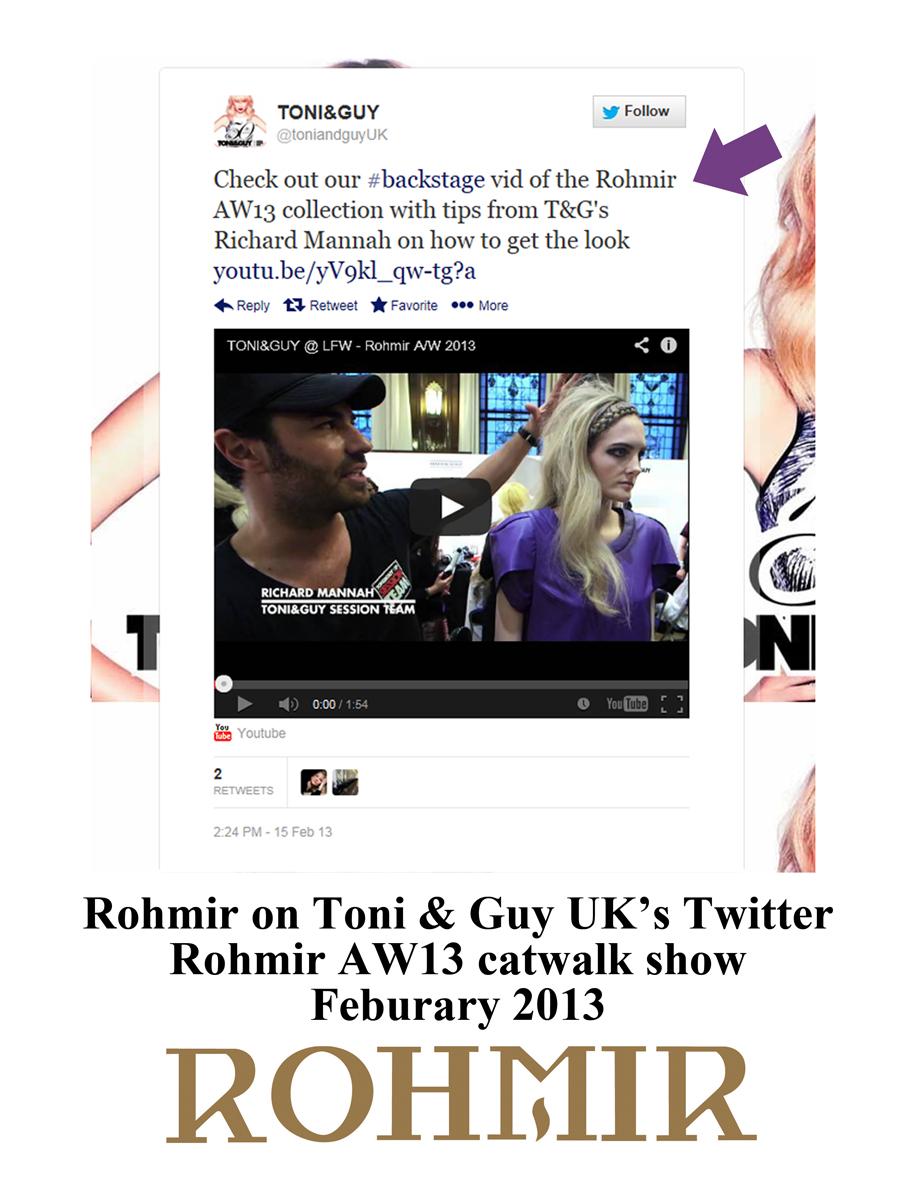 (edited) Rohmir on toni & guy uk ;s twitter Rohmir AW13 catwalk show feb 2013