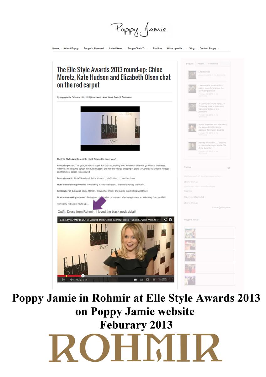 poppy jamie in rohmir at elle style awards on poppy jamie website