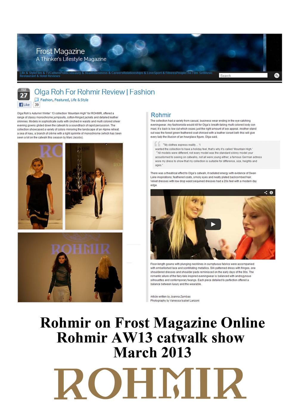 Rohmir on Frost Magazine Online Rohmir AW13 catwalk show Mar 2013