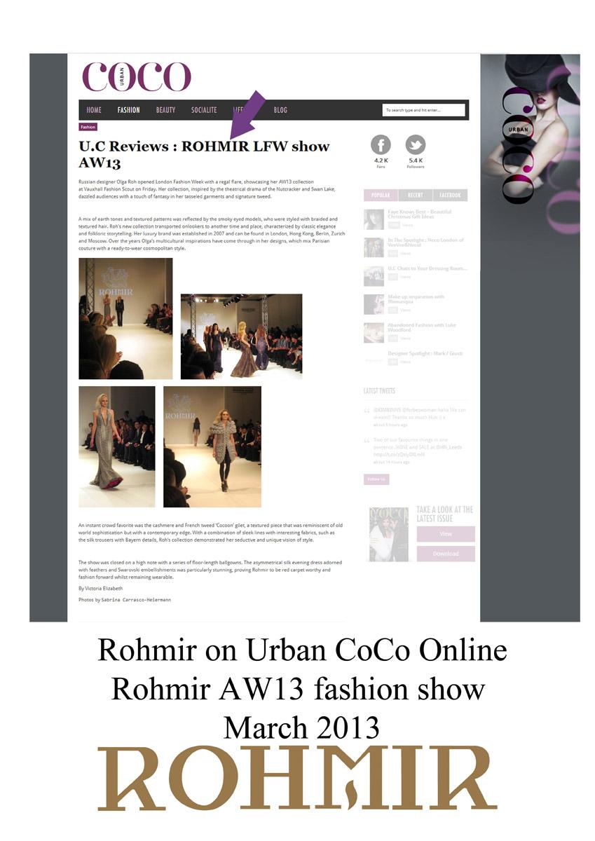 Rohmir on Urban CoCo Online AW13 fashion show mar 2013