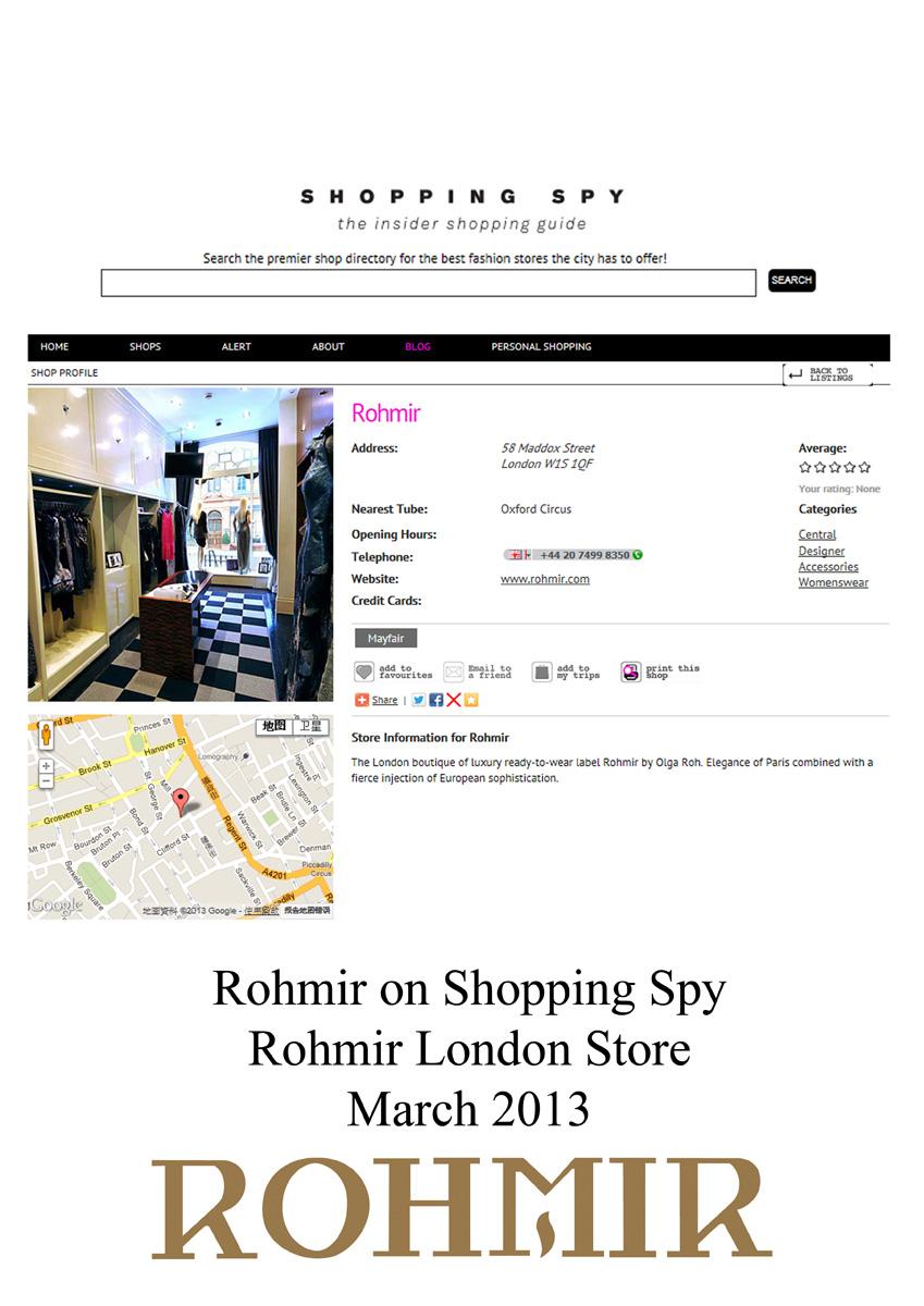 Rohmir on shopping spy Rohmir london store mar 2013