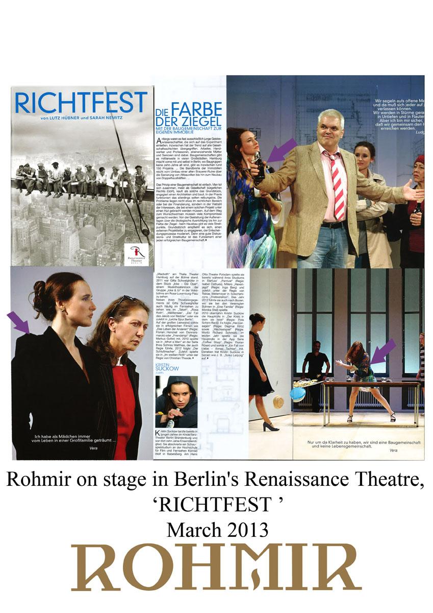 Rohmir on stage in Berlin's Renaissance Theatre,'RICHTFEST' mar 2013