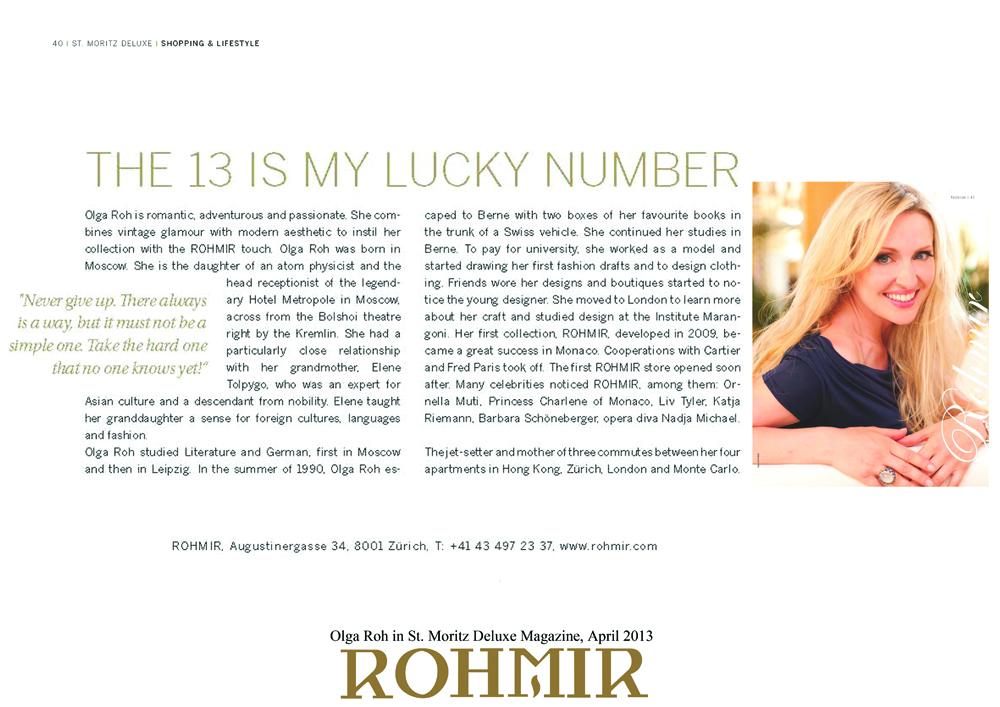 Olga Roh in St. Moritz Deluxe Magazine, April 2013 -1
