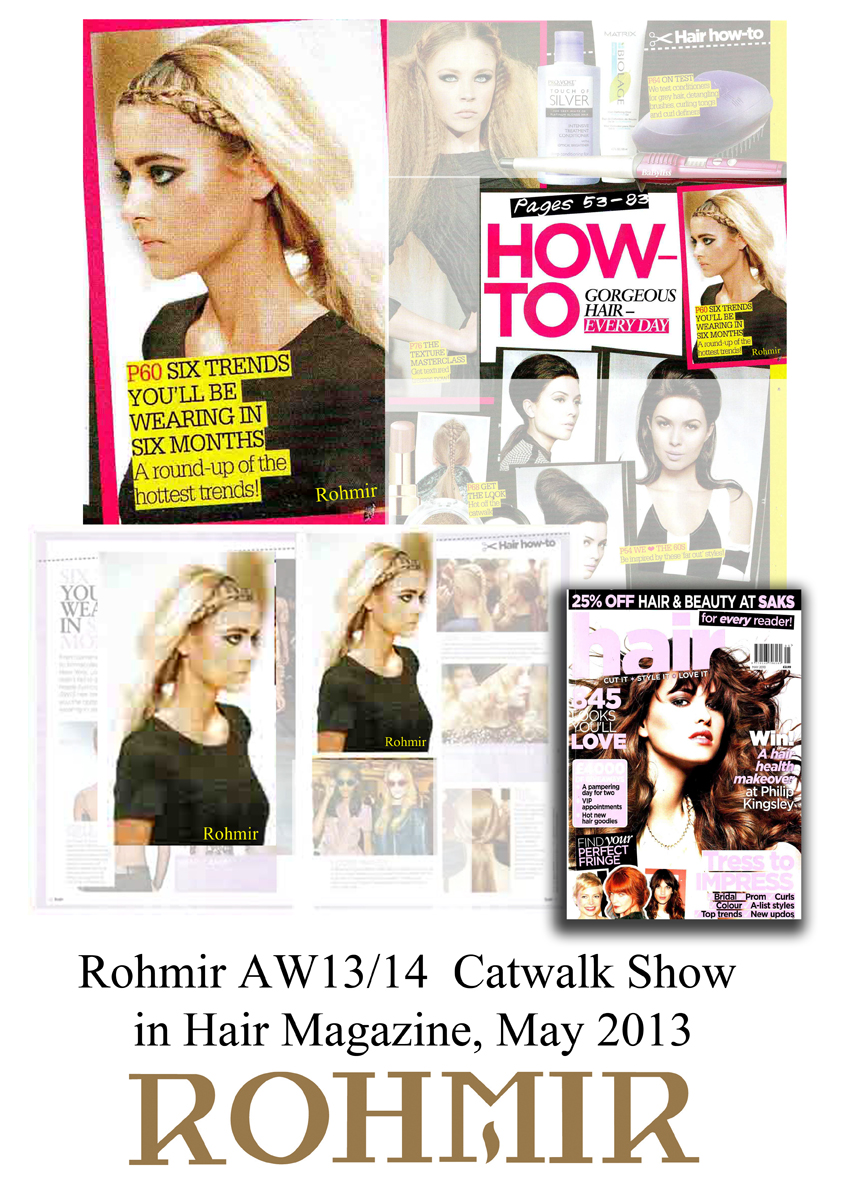 Rohmir AW13-14  Catwalk Show in Hair Magazine, May 2013