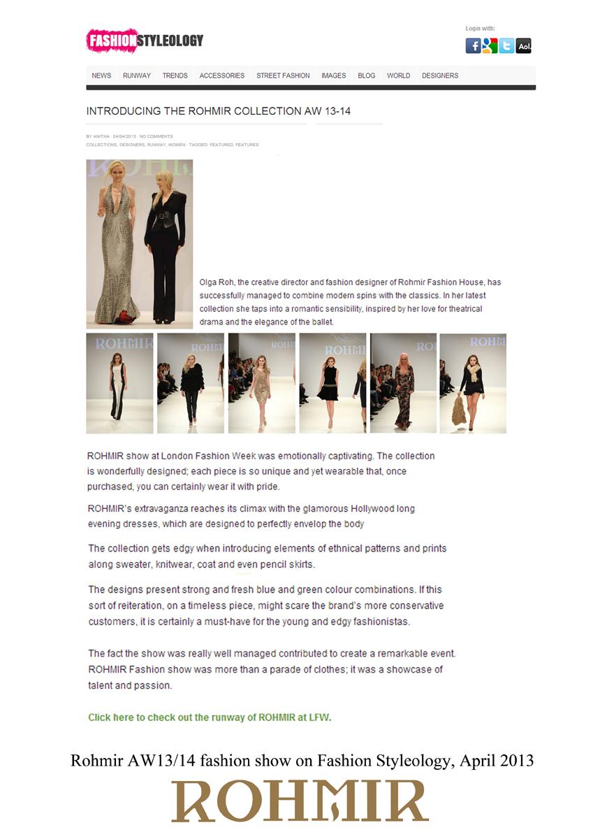 Rohmir AW1314 fashion show on Fashion Styleology, April 2013
